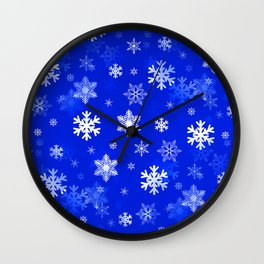 Light Blue Snowflakes Wall Clock