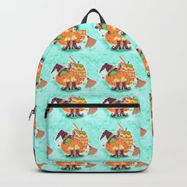 Halloween design with green background Backpack