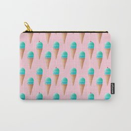 Blue & Pink Ice Cream Cone Pattern Carry-All Pouch