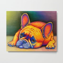 Colorful French Bulldog Rainbow Dog Pet Portrait Metal Print