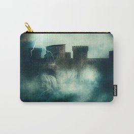 Medieval fortress in the heavy fog at night Carry-All Pouch