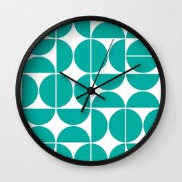 Mid Century Modern Geometric 04 Turquoise Wall Clock