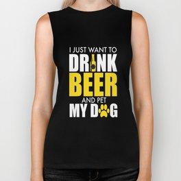 Hilarious Dog & Beer Lover Illustration: Drink Beer and Pet My Dog Biker Tank