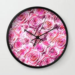 Textured Roses Pink Amanya Design Wall Clock