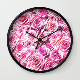 Textured Roses Pink Amanya Design Wall Clock