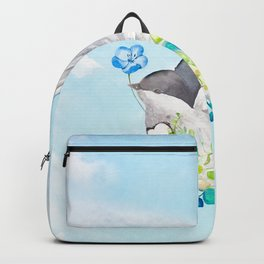Little Bird Carries Blue Flower Backpack