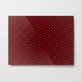 Geometry Square Pattern Red Black Metal Print