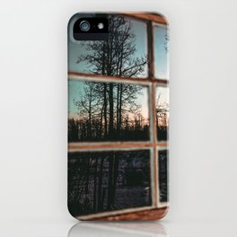 Lumberjack Cabin Window // Grainy Reflection of the Sunset and Trees iPhone Case