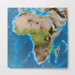 Topographic map of Africa with vegetation Metal Print