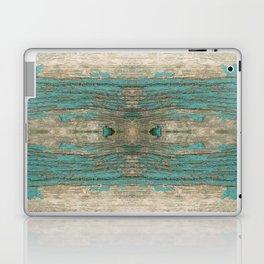 Weathered Rustic Wood - Weathered Wooden Plank - Beautiful knotty wood weathered turquoise paint Laptop & iPad Skin
