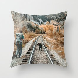 Autumn Tracks // Backpacking the Railroad Fall Tree Landscape with Black Dog Throw Pillow