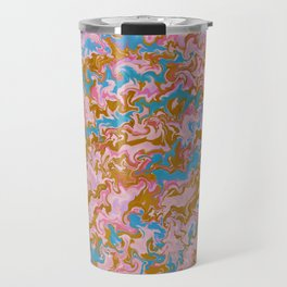 Rose Quartz & Gold Marble Travel Mug
