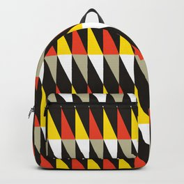 Geometric Pattern #187 (harlequin red yellow) Backpack