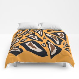 Collage yellow black brown Comforters