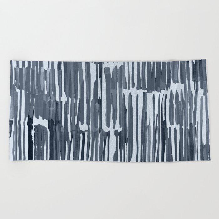 Simply Bamboo Brushstroke Indigo Blue on Sky Blue Beach Towel