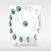 moon phases Shower Curtains featuring Phases by Hope