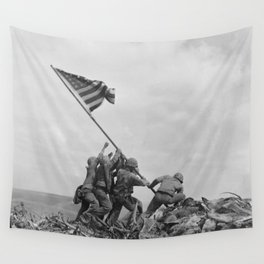 American Troops raising American flag on Mount Suribachi, Iwo Jima, 23 February 1945 Wall Tapestry