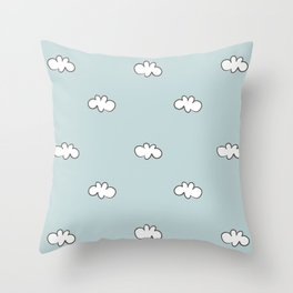 Blue background with small white clouds Throw Pillow