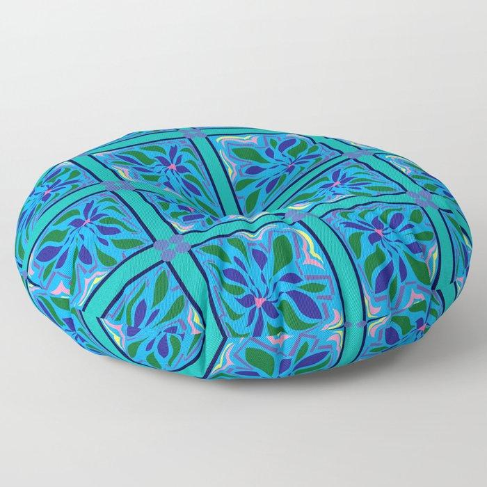 Sullivan Floral Blue Floor Pillow