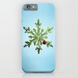 Winter Holidays Pine Snowflake iPhone Case