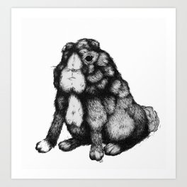 The rabbit that lost its ears and found worms using them as plush coats at the end of the garden Art Print