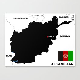 political map of Afghanistan country with flag Canvas Print