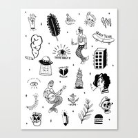 tattoos Canvas Prints featuring Flash Tattoos by Hamburger Hands