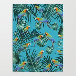 Parrots in the Tropical Jungle #2 #tropical #decor #art #society6 Poster