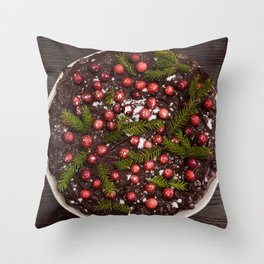 Christmas cake. Decorated with big cranberries and powder sugar. Throw Pillow
