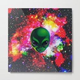 Alien Space - Space Alien Illustration Metal Print