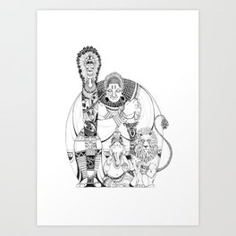 Four styles of the world Art Print