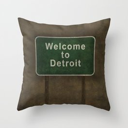 Welcome to Detroit highway road side sign Throw Pillow