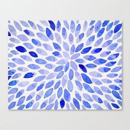 Watercolor brush strokes - blue Canvas Print