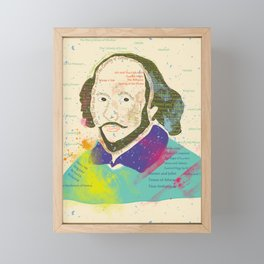 Portrait of William Shakespeare-Hand drawn Framed Mini Art Print