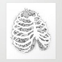 Anatomy Series: Rib Cage Flowers Art Print