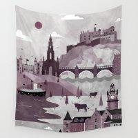 edinburgh Wall Tapestries featuring Edinburgh Travel Poster Illustration by ClaireIllustrations
