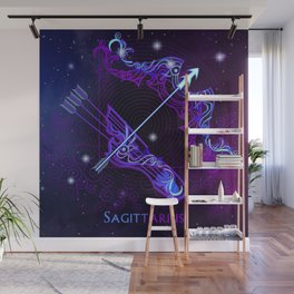 Zodiac neon signs — Sagittarius Wall Mural