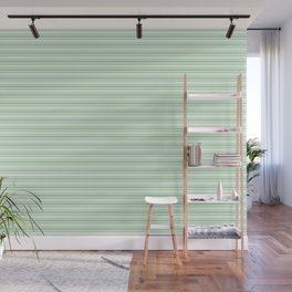Pastel Green Horizontal Line Pattern 2 on Linen White Pairs to 2020 Color of the Year Neo Mint Wall Mural
