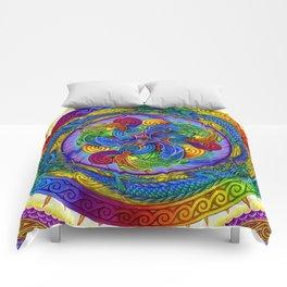 Psychedelic Dragons Rainbow Spirals Mandala Comforters