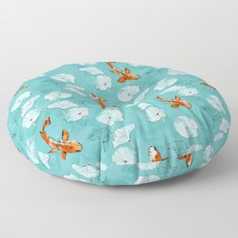 Waterlily koi in turquoise Floor Pillow