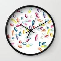 pills Wall Clocks featuring Pills by kristinesarleyart