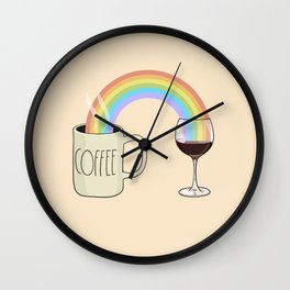 Coffee & Wine at the Ends of the Rainbow Wall Clock