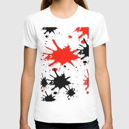 red black splash painting design T-shirt