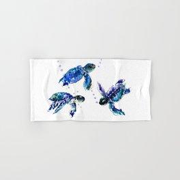 Three Sea Turtles, Marine Blue Aquatic design Hand & Bath Towel