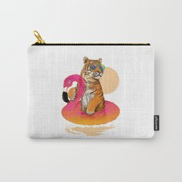 Chillin, Flamingo Tiger Carry-All Pouch