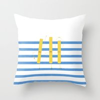 french fries Throw Pillows featuring French Fries by Marcela Chermont