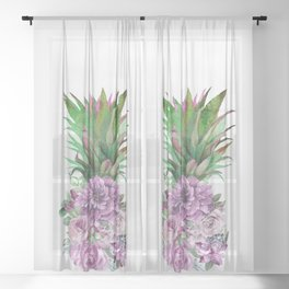 Floral Pineapple 1 Sheer Curtain