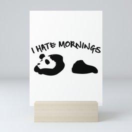 Cute & Funny I Hate Mornings Lazy Panda Mini Art Print