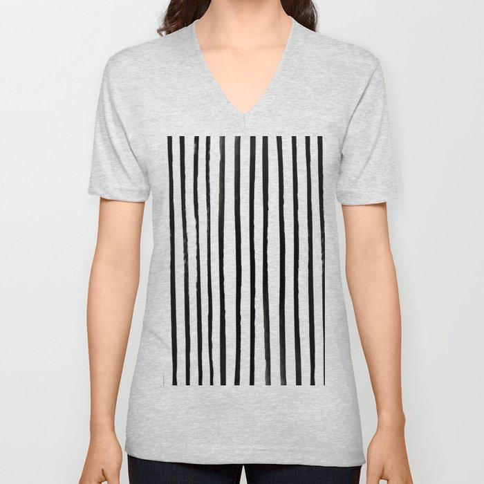 Vertical Black and White Watercolor Stripes Unisex V-Neck