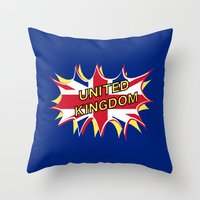 union jack Throw Pillows featuring Union Jack by mailboxdisco